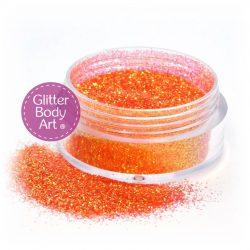 Tangerine orange face and body glitter makeup jar of loose glitter