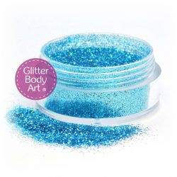turquoise blue face and body glitter makeup jar of loose glitter