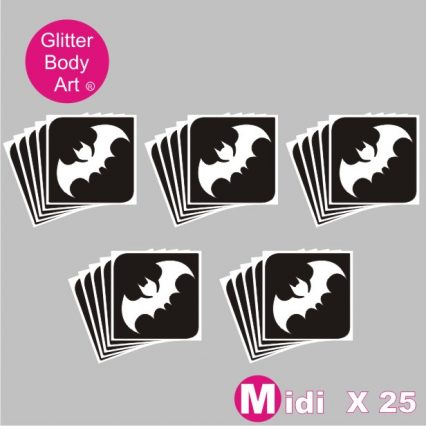 25 midi sized bat stencils for temporary tattoos