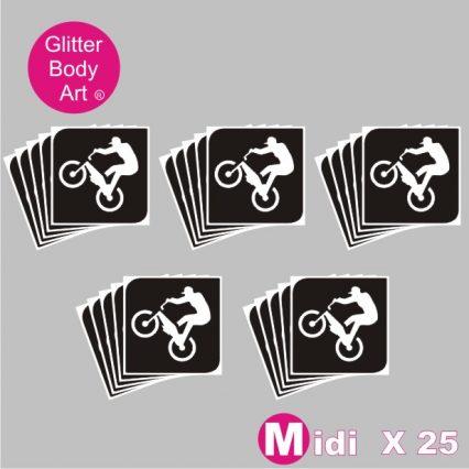 25 midi sized BMX Rider temporary tattoo stencils for glitter tattoos