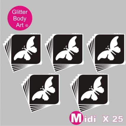 25 midi butterfly temporary tattoo stencils for glitter tattoos