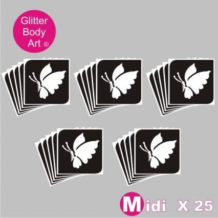 children's midi sized butterfly temporary tattoo stencils for glitter tattoos