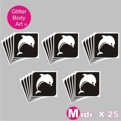 25 midi sized dolphin temporary tattoo stencils for glitter tattoos