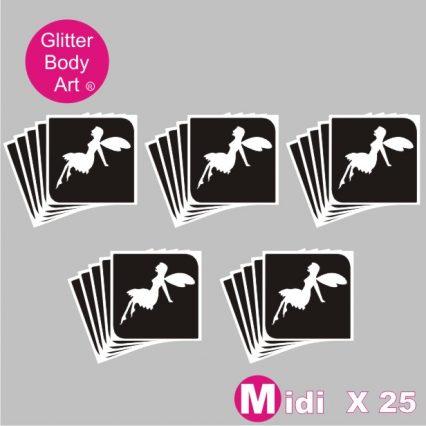 25 midi sized tinkerbell fairy temporary tattoo stencils for glitter tattoos