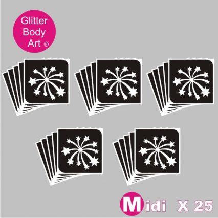 25 midi firework temporary tattoo stencils for glitter tattoos