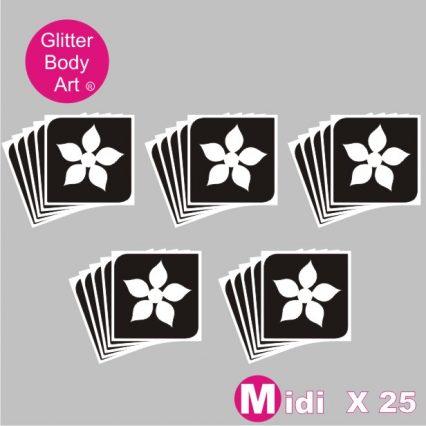 25 midi flower temporary tattoo stencils for glitter tattoos