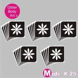 25 midi sized daisy temporary tattoo stencils for glitter tattoos