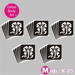 25 midi sized floral temporary tattoo stencils for glitter tattoos