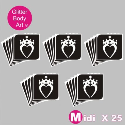 25 midi heart with a crown temporary tattoo stencil for girls glitter tattoos