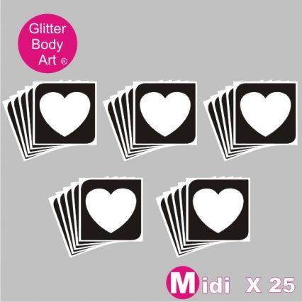 25 midi sized heart temporary tattoo stencils for glitters