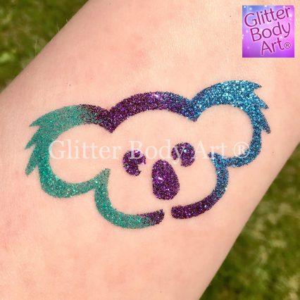 Koala temporary tattoos for kids, Koala glitter tattoo stencil