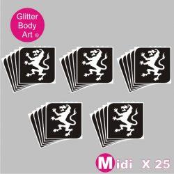 midi size English Lion temporary tattoo stencil for glitter tattoos, England Rugby stencils
