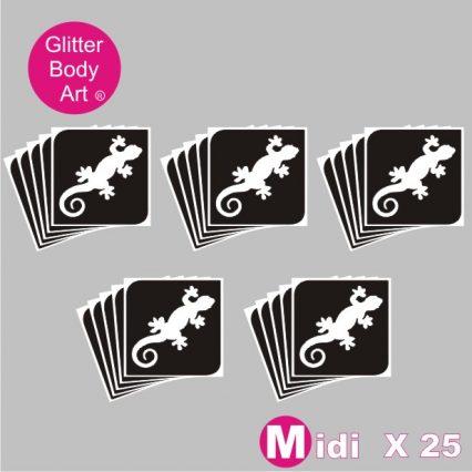 25 midi lizard/gecko temporary tattoo stencils for glitter tattoos