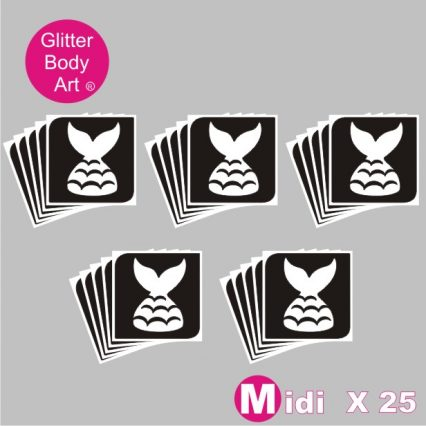 25 midi sized mermaid tail temporary tattoo stencils for glitter tattoos