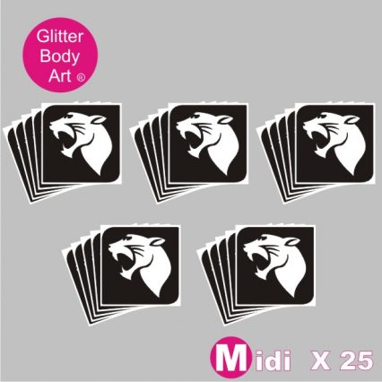 25 midi sized panther temporary tattoo stencils for glitter tattoos