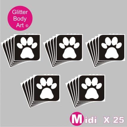 25 midi sized animal pawprint temporary tattoo stencil for glitter tattoos