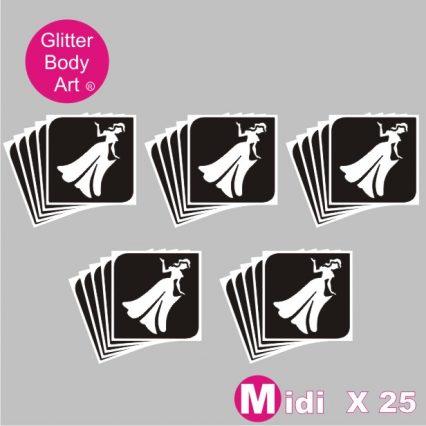 25 midi princess temporary tattoo stencils for glitter tattoos