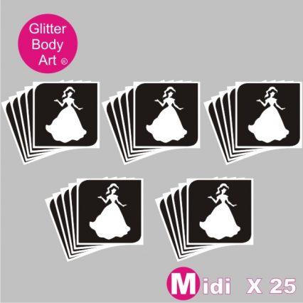 25 midi princess temporary tattoo stencils