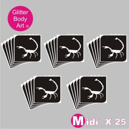 midi sized Scorpion temporary tattoo stencil for glitter tattoos