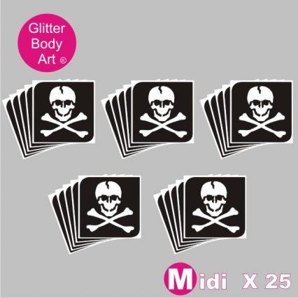 25 midi sized skull and bones stencils for temporary tattoos, glitter tattoo templates, pirate stencil