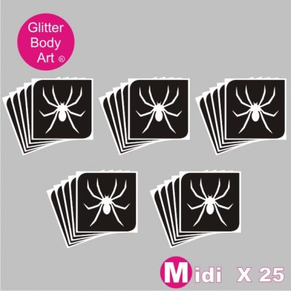 25 midi sized spider temporary tattoo stencils for glitter tattoos, spiderman party stencils