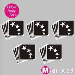 25 midi stars temporary tattoo stencils for glitter tattoos