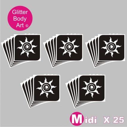 25 midi sized swirly sun temporary tattoo stencil for glitter tattoos