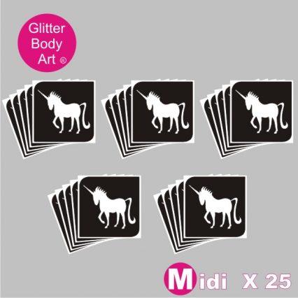 25 midi unicorn temporary tattoo stencils for glitter tattoos