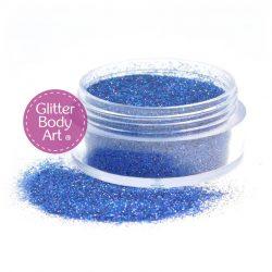 5 gram jar of navy blue iridescent loose glitter for glitter tattoos