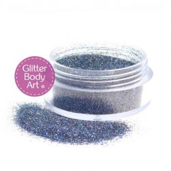Navy Blue holographic loose body glitter in 10ml jar for glitter tattoos