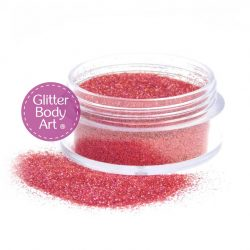 5 gram jar of pink holographic body glitter for use with temporary tattoos