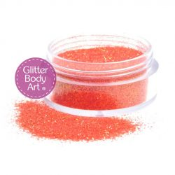 Jars of iridescent orange loose body glitter for glitter tattoos