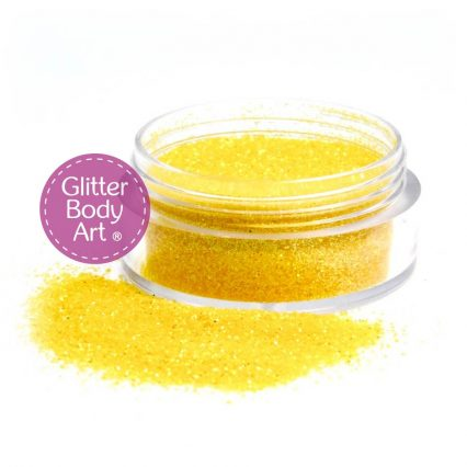 Yellow iridescent body glitter for use with glitter tattoos and nail art