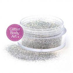 silver body glitter for glitter tattoos