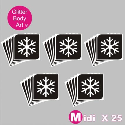 25 midi sized Christmas snowflake temporary tattoo stencils for glitter tattoos