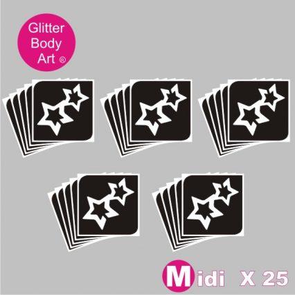 25 midi double stars temporary tattoo stencils for glitter tattoos