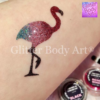 flamingo temporary tattoo, flamingo glitter tattoo stencil