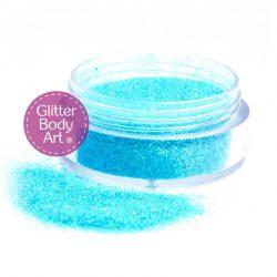 jar of loose Iridescent blue body glitter for glitter tattoos