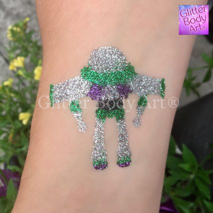 buzz light temporary tattoo stencil for Toy Story Brithday Party theme glitter tattoos