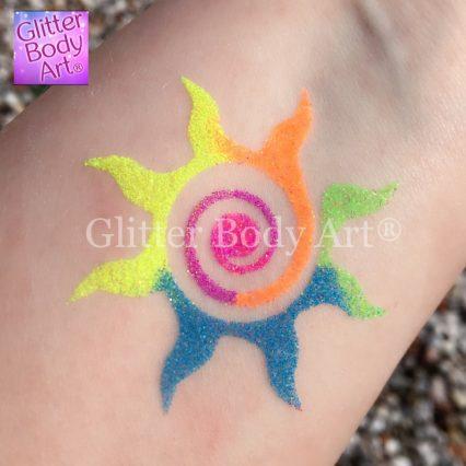 Swirly Sun Temporary tattoo stencils for kids glitter tattoos