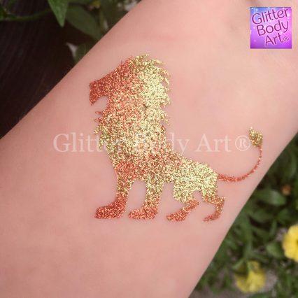 Lion King temporary tattoo stencil, Lion glitter tattoo