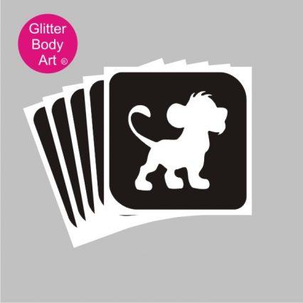cute lioni cub, Simba, Lion King temporary tattoo stencil