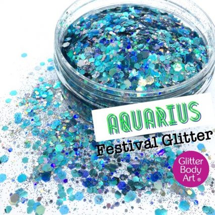 blue cosmetic face and body chunky glitter