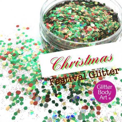 chrsitmas festival glitter mix for festival makeup on the face