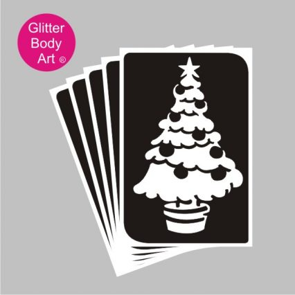 Christmas tree temporary tattoo stencil
