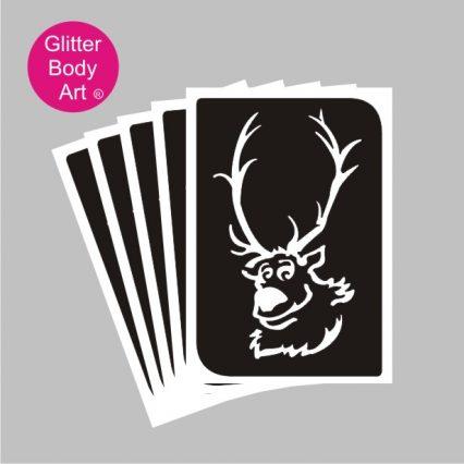 reindder with big antler, frozen theme stencils