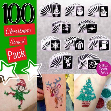 Christmas temporary tattoo stencils for glitter tattoos