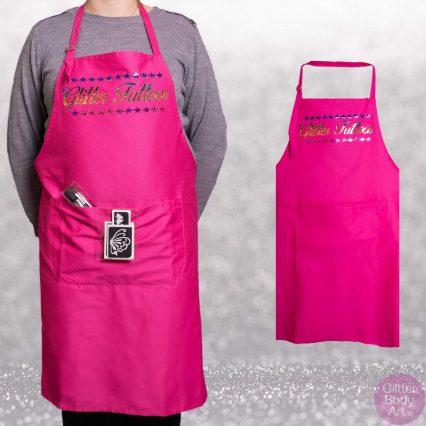 pink apron, glitter tattoo apron, face painting apron, apron