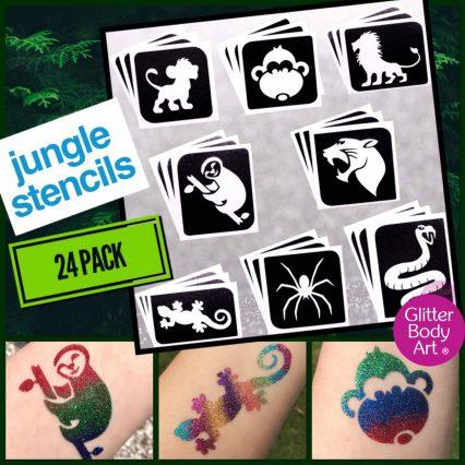 jungle themed temporary tattoo stencils