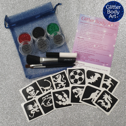 Boys temporary tattoos kit with glitter and tattoo stencils